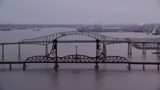 AX121_006 - 6K stock footage aerial video orbit two large bridges at twilight, Newark, New Jersey