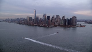 AX121_016 - 6K stock footage aerial video of the Lower Manhattan skyline at twilight in Autumn, New York City