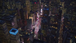 AX121_134 - 6K stock footage aerial video orbit Times Square at Night in New York City