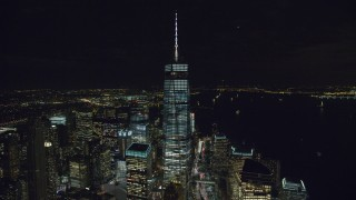 AX122_035 - 6K stock footage aerial video of an orbit of One World Trade Center at Night in Lower Manhattan, NYC