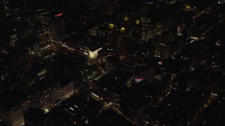 AX122_105 - 6K stock footage aerial video approach Union Square at Night in Gramercy, New York City