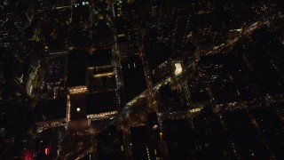 AX122_181 - 6K stock footage aerial video of Lincoln Center, Metropolitan Opera House and Upper West Side Streets at Night, NYC