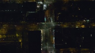 AX122_229 - 6K stock footage aerial video of a bird's eye of 2nd Avenue in Gramercy, New York City at Night