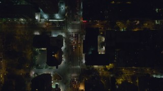 AX122_230 - 6K stock footage aerial video of a bird's eye view of 2nd Avenue in Gramercy, NYC, at Night