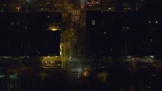 AX122_233 - 6K stock footage aerial video of a bird's eye view of cars on 2nd Avenue at Night in Gramercy, New York City