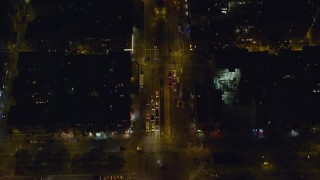 AX122_243 - 6K stock footage aerial video of a bird's eye of Delancey Street on Lower East Side at Night, New York City