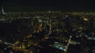 AX122_271 - 6K stock footage aerial video orbit Brooklyn high-rises at Night in New York City