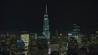 AX122_286 - Aerial stock footage of Orbit One World Trade Center at Night in Lower Manhattan