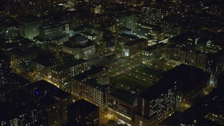 AX123_022 - 6K stock footage aerial video of approaching Columbia University at Night in Morningside Heights, New York City