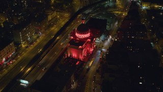 AX123_096 - 6K stock footage aerial video approach and tilt to the Williamsburgh Savings Bank building at Night in Brooklyn, New York City
