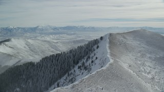 AX125_198 - 6K stock footage aerial video of light snowdrifts on a mountain peak with frosty evergreens in winter, Oquirrh Mountains, Utah