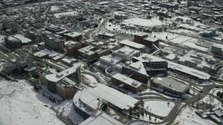 AX126_054 - 6K stock footage aerial video of circling University of Utah hospital buildings in wintertime, Salt Lake City
