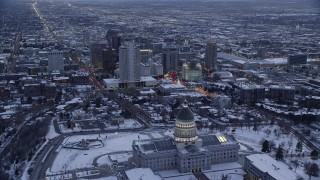 Cities in Snow Aerial Stock Footage