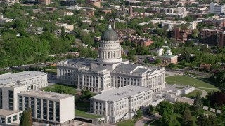 AX129_019 - 6K stock footage aerial video of the Utah State Capitol and Capitol Hill, Salt Lake City, Utah