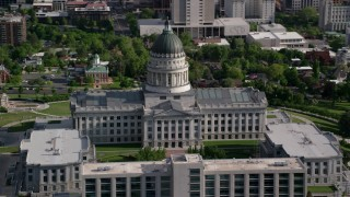 AX129_020 - 6K stock footage aerial video of orbiting the Utah State Capitol on Capitol Hill, Salt Lake City, Utah