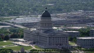 AX129_034 - 6K stock footage aerial video of an orbit around the Utah State Capitol, Capitol Hill, Salt Lake City, Utah