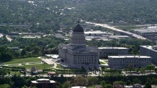AX129_035 - 6K stock footage aerial video of circling around Utah State Capitol, Capitol Hill, Salt Lake City, Utah