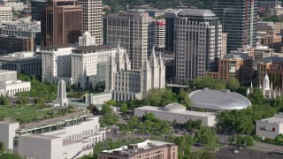 AX129_043 - 6K stock footage aerial video of Salt Lake Temple, Mormon Tabernacle, Downtown Salt Lake City, Utah