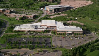 AX129_069 - 6K stock footage aerial video of approaching a University of Utah office building, Salt Lake City, Utah