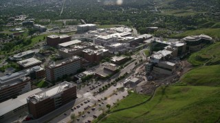 AX129_073 - 6K stock footage aerial video of passing by the University of Utah Hospital buildings, Salt Lake City, Utah