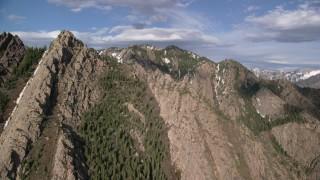 AX129_097 - 6K stock footage aerial video flyby Mount Olympus, Wasatch Range, Utah