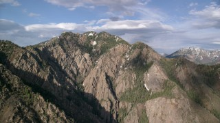 AX129_098 - 6K stock footage aerial video of Mount Olympus, Wasatch Range, Utah