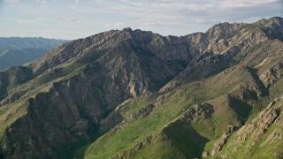 AX129_136 - 6K stock footage aerial video flyby Mount Olympus in the Wasatch Range, Utah