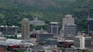 AX130_008 - 6K stock footage aerial video of Utah State Capitol on Capitol Hill and Downtown Salt Lake City, Utah
