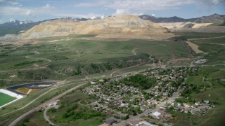 AX130_030 - 6K stock footage aerial video of approaching Bingham Canyon Mine (Kennecott Copper Mine), Copperton, Utah