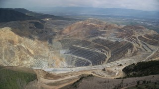 AX130_049 - 6K stock footage aerial video of an orbit around the Bingham Canyon Mine (Kennecott Copper Mine), Utah