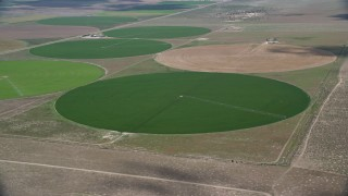 AX130_091 - 6K stock footage aerial video of approaching green circular crop fields, Elberta, Utah