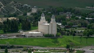 AX130_146 - 6K stock footage video orbit the Manti-Utah Temple, Manti, Utah