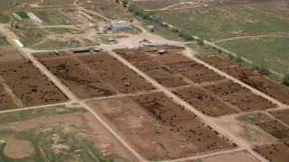AX130_175 - 6K stock footage aerial video of orbiting a large cattle ranch, surrounded by fields, Aurora, Utah