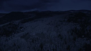 AX130_202_DFN - Aerial stock footage of 4K day for night color corrected aerial footage flyby evergreen forest, aspen trees covering mountain slopes, Fishlake National Forest, Utah