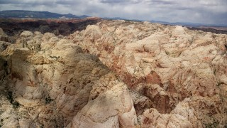 AX130_281 - 6K stock footage aerial video of a view of the Waterpocket Fold rock formations, Capitol Reef National Park, Utah