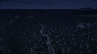 AX130_348_DFN - Aerial stock footage of 4K day for night color corrected aerial footage of flying over desert vegetation, approaching a canyon, Dixie National Forest, Utah