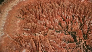 AX130_436 - 6K stock footage aerial video of bird's eye view orbiting large group of hoodoos, Bryce Canyon National Park, Utah