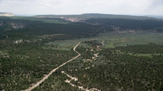 AX131_039 - 6K stock footage aerial video of flying over dirt road, forest, Grand Staircase-Escalante National Monument, Utah