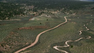 AX131_042 - 6K stock footage aerial video fly over dirt roads near forest, Grand Staircase-Escalante National Monument, Utah