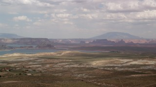 AX131_127 - 6K aerial stock footage video of a wide view of Lake Powell, Glen Canyon National Recreation Area, Utah, Arizona