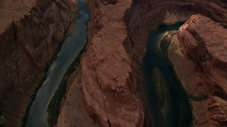 AX131_178 - 6K stock footage aerial video bird's eye view of the Colorado River in Horseshoe Bend, Glen Canyon, Arizona