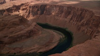 AX131_213 - 6K stock footage aerial video of orbiting Horseshoe Bend and the Colorado River, Glen Canyon, Arizona