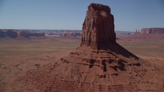 AX135_116 - 6K stock footage aerial video approach and flyby East Mitten Butte, reveal Elephant Butte, Monument Valley, Utah, Arizona
