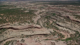 AX136_113 - 6K stock footage aerial video of flying by a shallow canyon through a desert valley, Natural Bridges National Monument, Utah