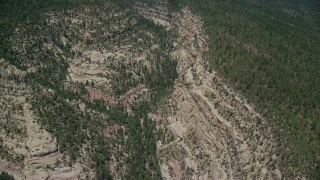 AX136_181 - 6K stock footage aerial video of flying by box canyon, tilt to bird's eye view, Manti-La Sal National Forest, Utah
