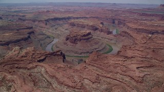 AX136_237 - 6K stock footage aerial video flyby and approach Colorado River though Meander Canyon, Canyonlands National Park, Utah
