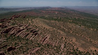 AX137_016 - 6K stock footage aerial video of passing over rock fins in Devil's Garden, Arches National Park, Utah