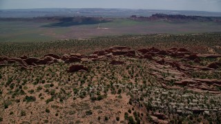 AX137_017 - 6K stock footage aerial video of a view of rock fins in Devil's Garden, Arches National Park, Utah