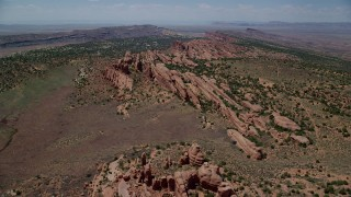 AX137_023 - 6K stock footage aerial video fly over rock fins in Eagle Park, Arches National Park, Utah
