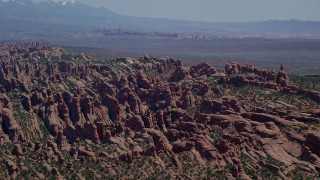 AX137_048 - 6K stock footage aerial video of a view of rock formation in Devil's Garden, Arches National Park, Utah